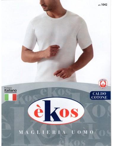 èKos-ART. 1042-Maglia uomo, cotone caldo, girocollo, mezza manica.