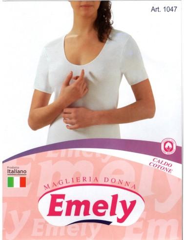 Emely-ART. 1047-Maglia donna, cotone caldo, mezza manica.