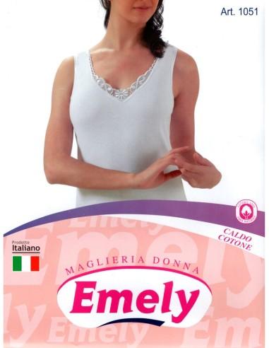 Emely-ART. 1051-Maglia donna, cotone caldo, pizzo, spalla stretta.