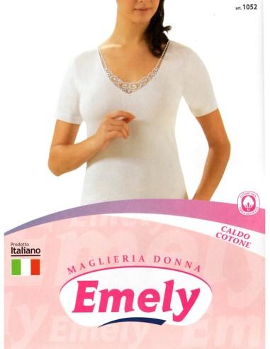 Emely-ART. 1052-Maglia donna, cotone caldo, pizzo, mezza manica.