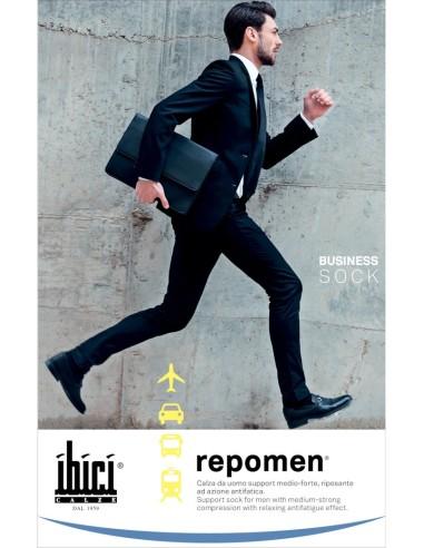 Ibici-REPOMEN-Calza support riposante - mmHg 16/20 - hPa 21/27Calza da uomo support medio-forte, con alto bordo elastico comfort. Con tallone anatomico.