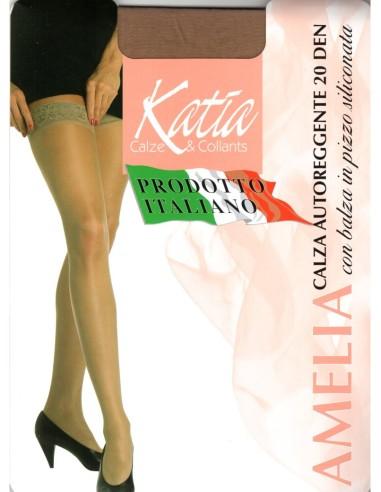 Katia-AMELIA AUTOREGGENTE 20 DEN-Calza autoreggente 20 den modello Amelia, opaca con calza in pizzo siliconata.