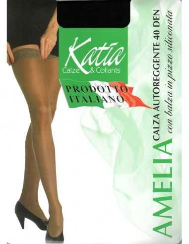 Katia-AMELIA AUTOREGGENTE 40 DEN-Calza autoreggente 40 den modello Amelia, opaca con calza in pizzo siliconata.